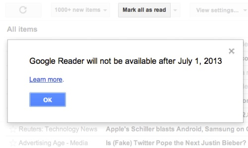 Google Reader Will Not Be Available After July 1 2013
